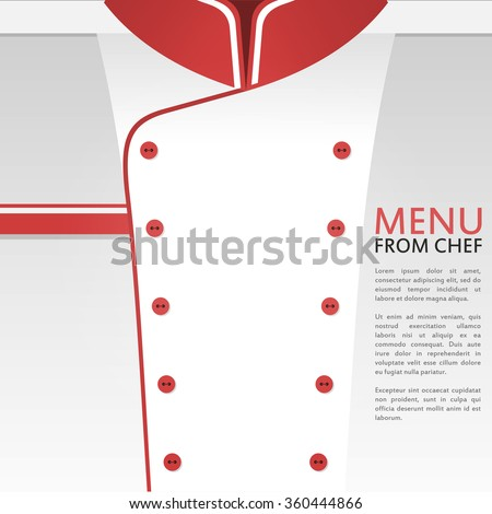 Vector illustration with white and red chef uniform. Restaurant menu background