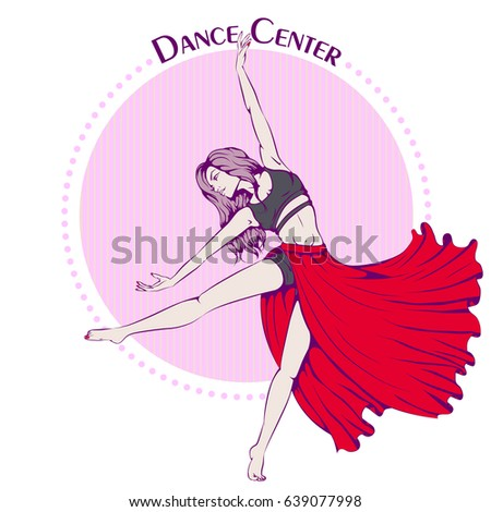 Vector Illustration With Young Girl Dancing Contemporary Dance On Retro Background Design Template For Flyer