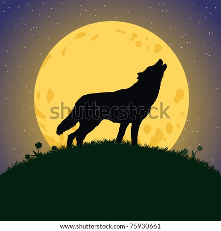 Vector illustration, wolf howling at moonlight, card concept. - stock vector