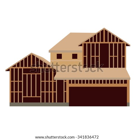 Vector illustration wooden unfinished house construction. House icon - stock vector