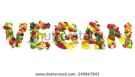 Vector illustration Word VEGAN composed of different fruits with leaves - stock vector