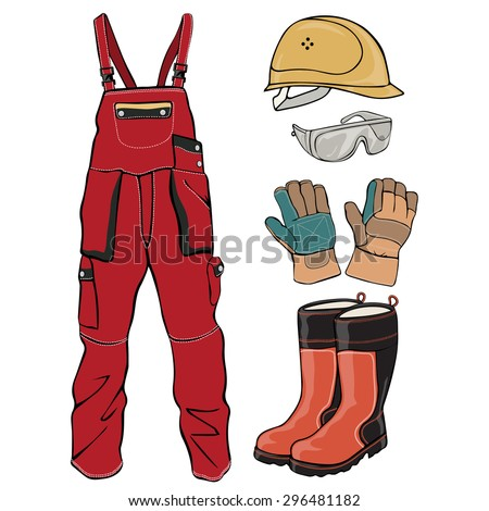 Vector illustration, worker protection clothes, cartoon concept, white background.