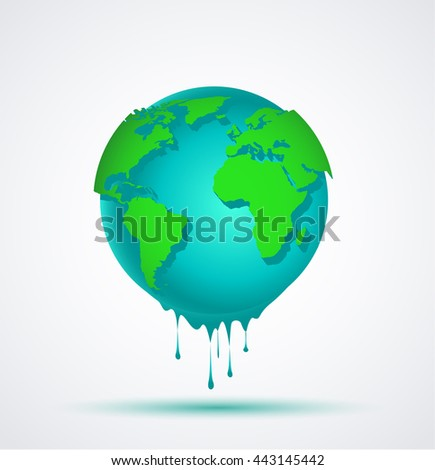 Vector illustration world blue globe with green continents falling water - stock vector