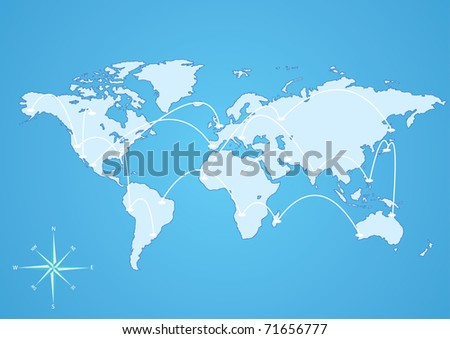 vector illustration world connection  map eps8 - stock vector