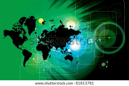 Vector illustration world map - stock vector
