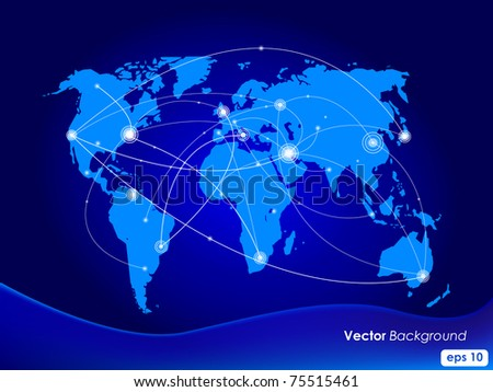 Vector illustration world map. Concept communication. - stock vector