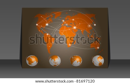 Vector illustration world map. Concept communication - stock vector