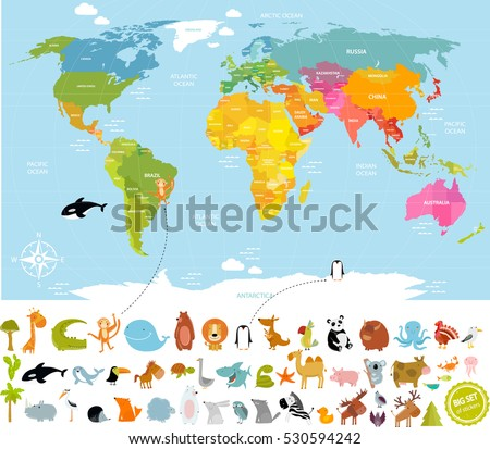 Vector illustration world map children lots stock vector 530594242 vector illustration world map for children with lots of animals bear cow elephant gumiabroncs Image collections