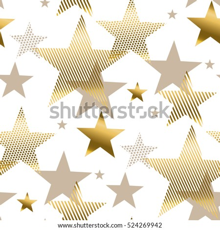 vector illustration xmas seamless pattern for wrapping paper. abstract background with gold stars for Christmas and New year banners, on white background.
