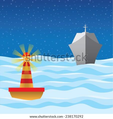 Vector illustration yacht on sea nigh - stock vector