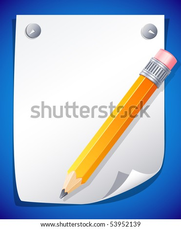 Vector illustration - yellow pencil on the paper - stock vector