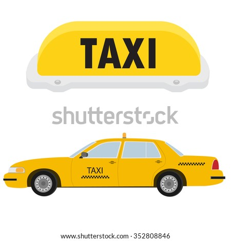 Vector illustration yellow taxi car, cab side view and yellow taxi sign. Public transportation