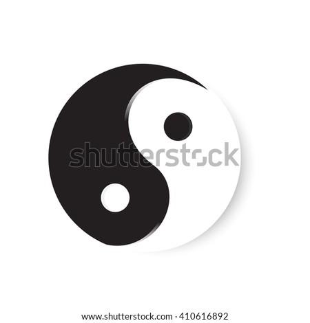 Vector illustration ying yang symbol of harmony and balance. Ying yang icon - stock vector
