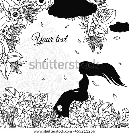 Vector illustration Zen Tangle, girl sitting on apples, is rain. Doodle flowers. Coloring book anti stress for adults. Black and white.