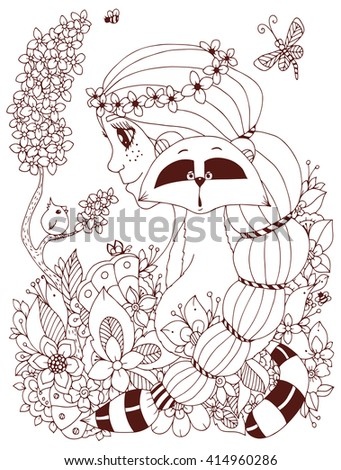 Vector illustration Zen Tangle girl with freckles and a raccoon. Doodle flowers, frame, bird. Coloring book anti stress for adults.  Brown  and white. - stock vector