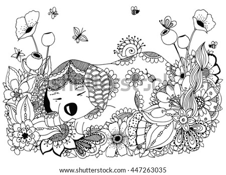 Vector Illustration Zen Tangle Puppy Sleeps In Flowers Doodle Drawing Coloring Book Anti