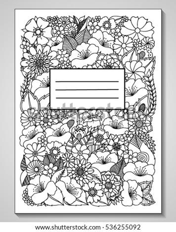 Vector Illustration Zentagl Bookcover Decorated Flowers Stock Vector ...