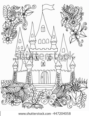 Vector Illustration Zentangl Castle With Flowers Coloring Book Anti Stress For Adults Black And