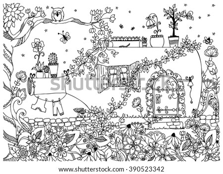 Vector illustration zentangl house in a bottle. The tale doodle, zenart, garden, flowers, tree, owl. House a fabulous door. Coloring for adult anti-stress. Black and white.  - stock vector