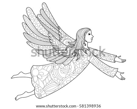 Vector illustration zentangl, New Year angel in the flowers. Coloring Book, anti-stress for adults. Black and white.