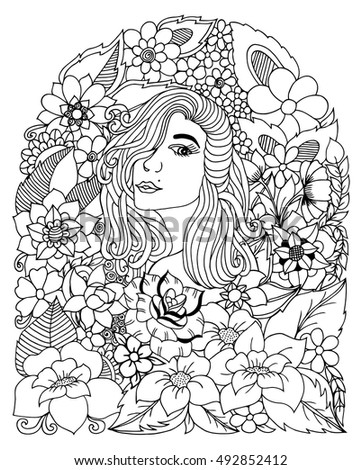 Vector Illustration Zentangl Portrait Of A Girl Among The Flowers Coloring Book Anti Stress