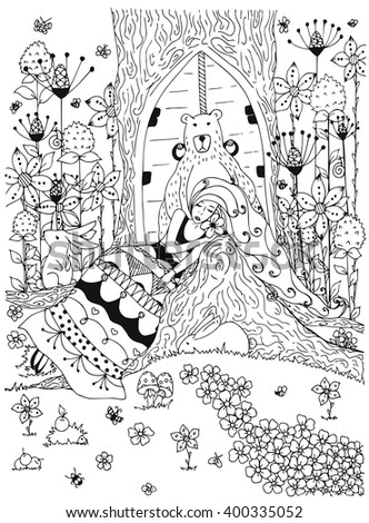 Vector illustration zentangl woman girl sleeping under a tree in the forest. Doodle animals, flowers, bear the door. landscape, tree. Coloring book anti stress for adults. Black and white. - stock vector