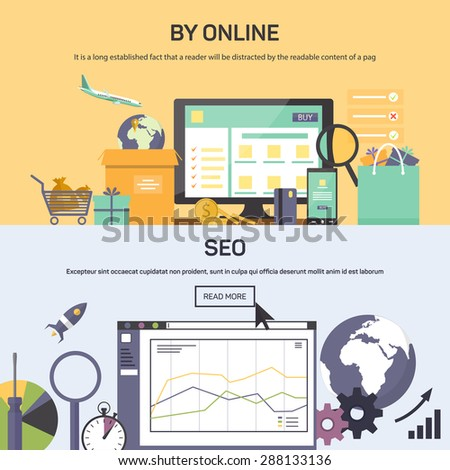 Vector illustrations banner - buying online and SEO optimization. Flat style for your design situations - stock vector