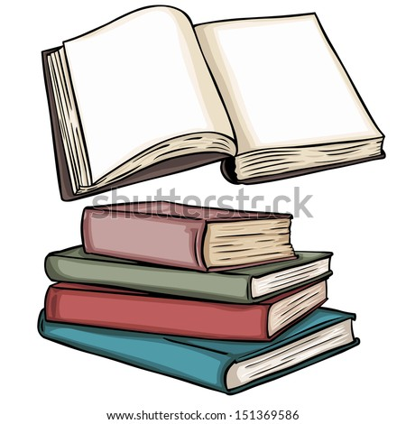 vector illustrations: blank open book and stack of books - stock vector