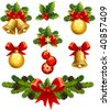 vector illustrations - christmas ornaments icons - stock photo