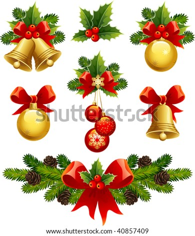 vector illustrations - christmas ornaments icons - stock vector