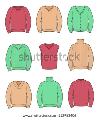 Vector illustrations. Collection of men's jerseys in color - stock vector