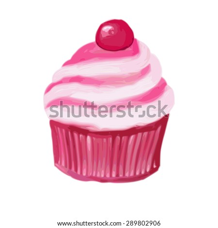 vector illustrations cupcake with cream. of the drawing oil.