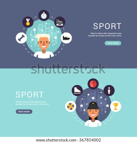 Vector Illustrations in Flat Design Style. Sport Icons and Sportsman Cartoon Character in Circle. Winter Sports - stock vector