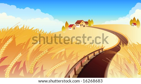 Vector illustrations - Landscape with wheat - stock vector