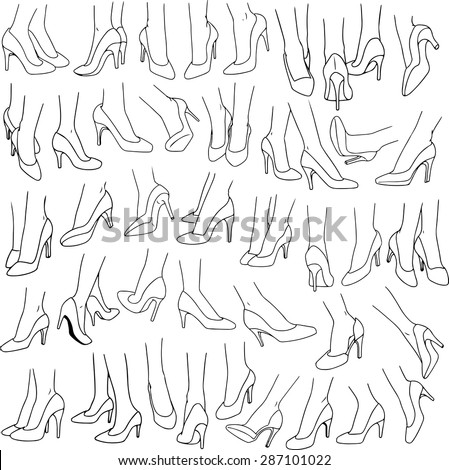 Vector illustrations lineart pack of woman feet wearing red high heel in various gestures. - stock vector
