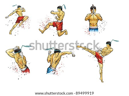 Vector illustrations Muay Thai fighters - stock vector
