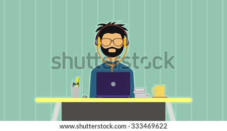 vector illustrations of a creative hipster person working on his desk with a computers. perfect for website image design elements or magazine, newsletter, or any other publications - stock vector
