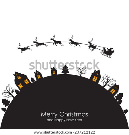 Vector illustrations of Christmas greeting with Santa on a reindeer sleigh flies above round the Earth