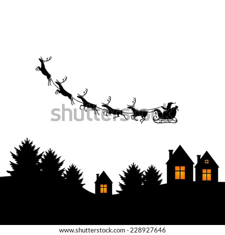 Vector illustrations of Christmas greeting with Santa on a reindeer sleigh flies above the ground - stock vector