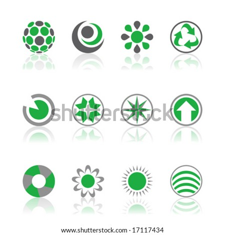 Vector illustrations of company logos in green and gray isolated on a white background - stock vector