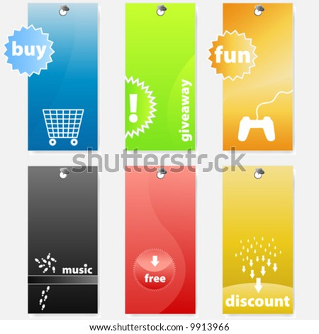 Vector illustrations of differently colored glossy shopping and music related web tags/labels. - stock vector