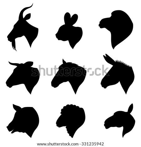 Farm animal head silhouettes - photo#3