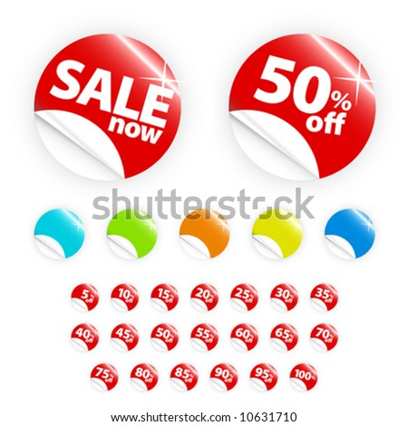 "Vector illustrations of glossy/shiny retail icons with peel gradient effect with discount percentages from 5 to 100 + a ""sale now"" element. In six different colors. - stock vector"