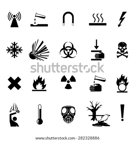 vector illustrations of hazard warning I cons. Industrial warning triangle signs. Danger symbol Icons - stock vector