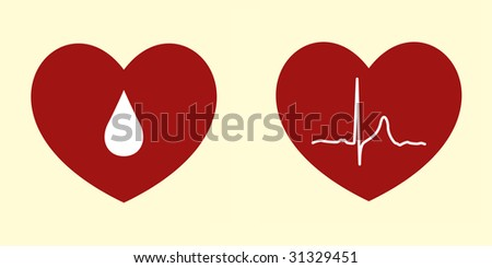 Vector Illustrations of Heart Related Concepts - stock vector
