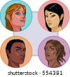 Vector illustrations of imaginary, multi-ethnic girls. These portraits are not traced, and they have no likeness to any actual person that I know of. - stock vector