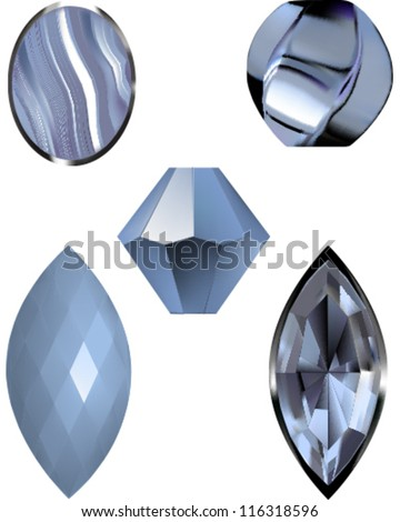 Vector illustrations of Lace blue agate, a blue gem and blue beads