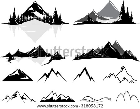 Vector illustrations of mountains and hills, some realistic, some stylized. All objects can be un-grouped and easily moved around. If you want to move or copy an element it is very easy to do so. - stock vector