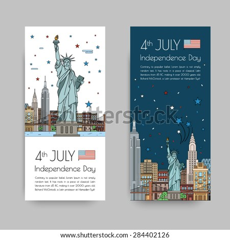 Vector illustrations of New York city for Independence Day of America, 4th of July celebration. - stock vector