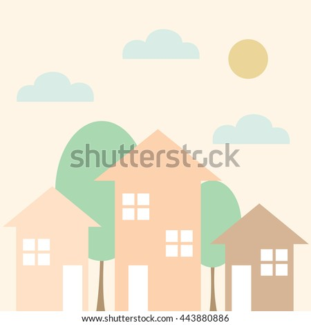 Vector illustrations of pink houses and green trees on light background